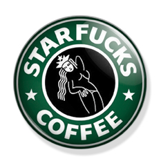 Starfucks Coffee Logo Lapel PIN ( Starbucks ) Ø 25mm