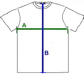 "(A) Chest: "" (armpit to armpit) (B) Length: "" Sleeve Length: Short Sleeve"