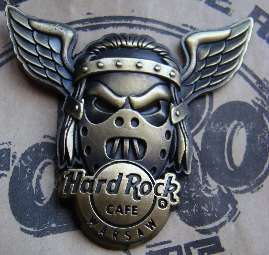 Hard Rock Cafe WARSAW 2008 Skull Wing Gold pin LE 300