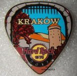 Hard Rock Cafe KRAKOW 2012 POSTCARD Guitar Pick Pin LE 200