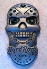Hard Rock Cafe KRAKOW 2012 Skull green gemstone Pin LE 100
