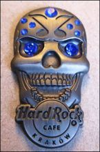 Hard Rock Cafe KRAKOW 2012 Skull blue gemstone Pin LE 100