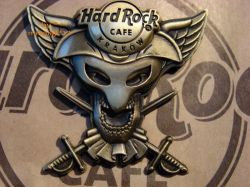 Hard Rock Cafe KRAKOW '08 Skull Mask Gold pin LE 300