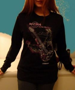 Hard Rock Cafe WARSAW Ladies Winged Guitar T-Shirt long sleeve -XL-