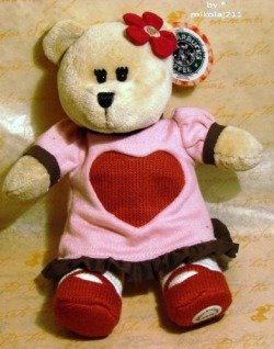 Starbucks Coffee Bearista Valentine's Day 2010 Plush Bear 91st LE