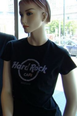 Hard Rock Cafe WARSAW 2009 Ladies T-shirt Jr Rhinestud Logo XS-XL