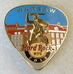 Hard Rock Cafe WARSAW 2012 POSTCARD Guitar Pick Pin LE 100