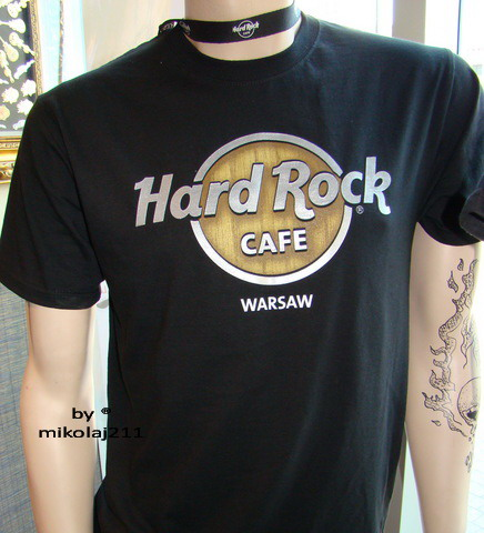 Hard rock cafe warsaw t shirt wood panel tee black t shirt for Classic hard house