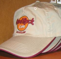 Hard Rock Cafe WARSAW BASEBALL CAP Khaki Tan Hat NEW