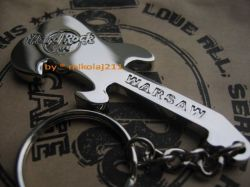 Hard Rock Cafe WARSAW '08 Bottle Guitar SILVER OPENER - KEYCHAIN