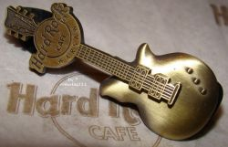 Hard Rock Cafe WARSAW 2008 Gold 3D Guitar Pin #2